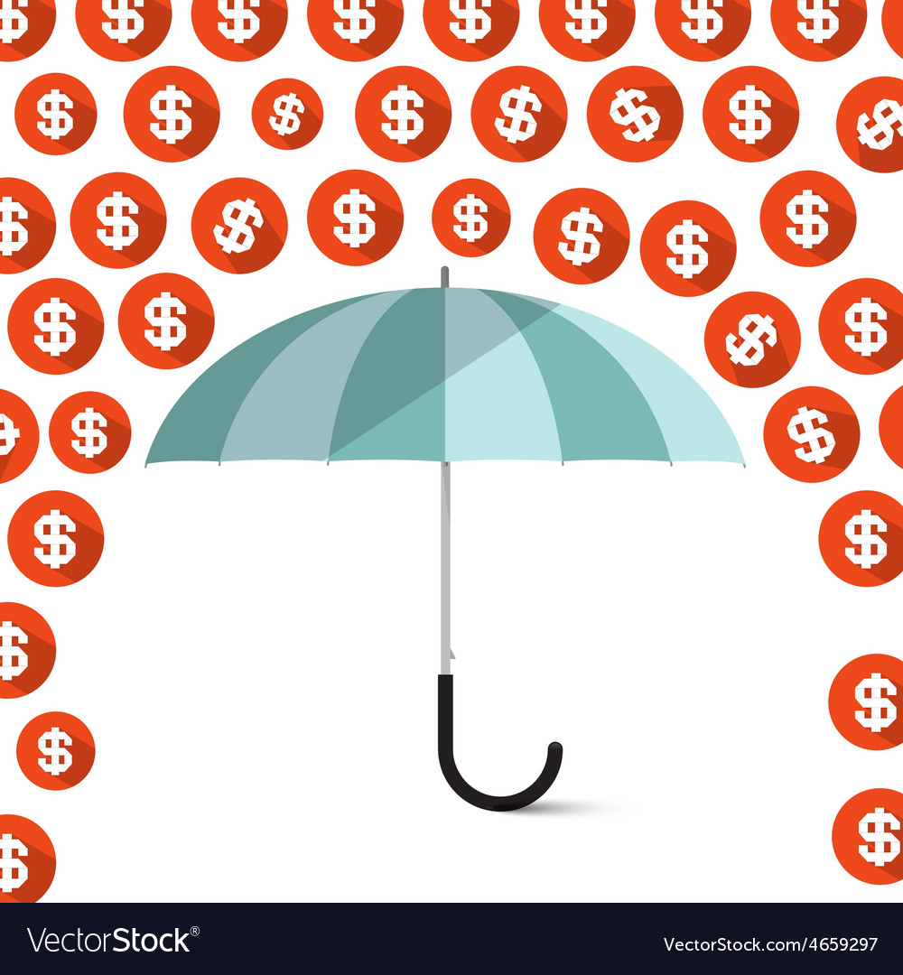 Money  dollar coins rain and umbrella vector