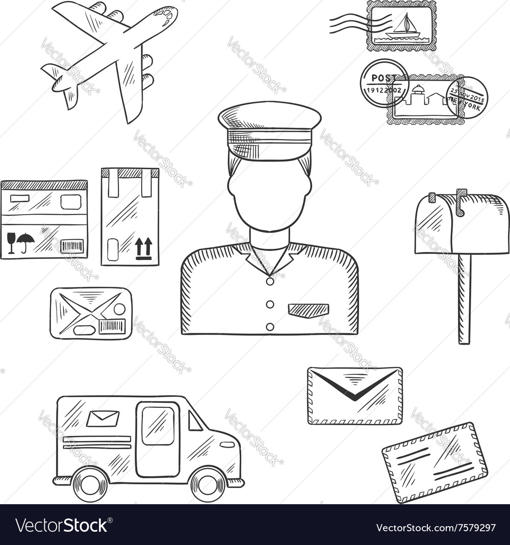 Postman and shipping sketch icons vector