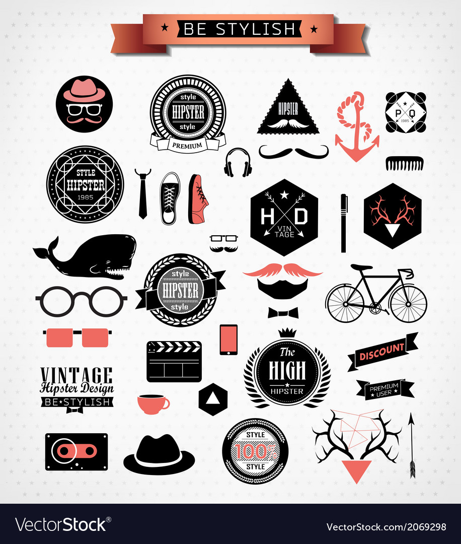 Hipster style elements icons and labels vector