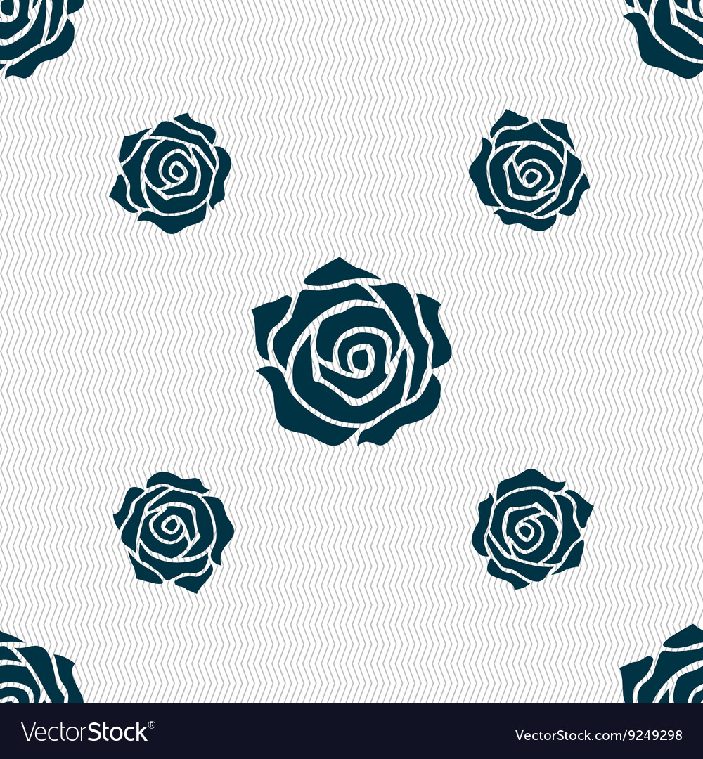 Rose icon sign seamless pattern with geometric vector