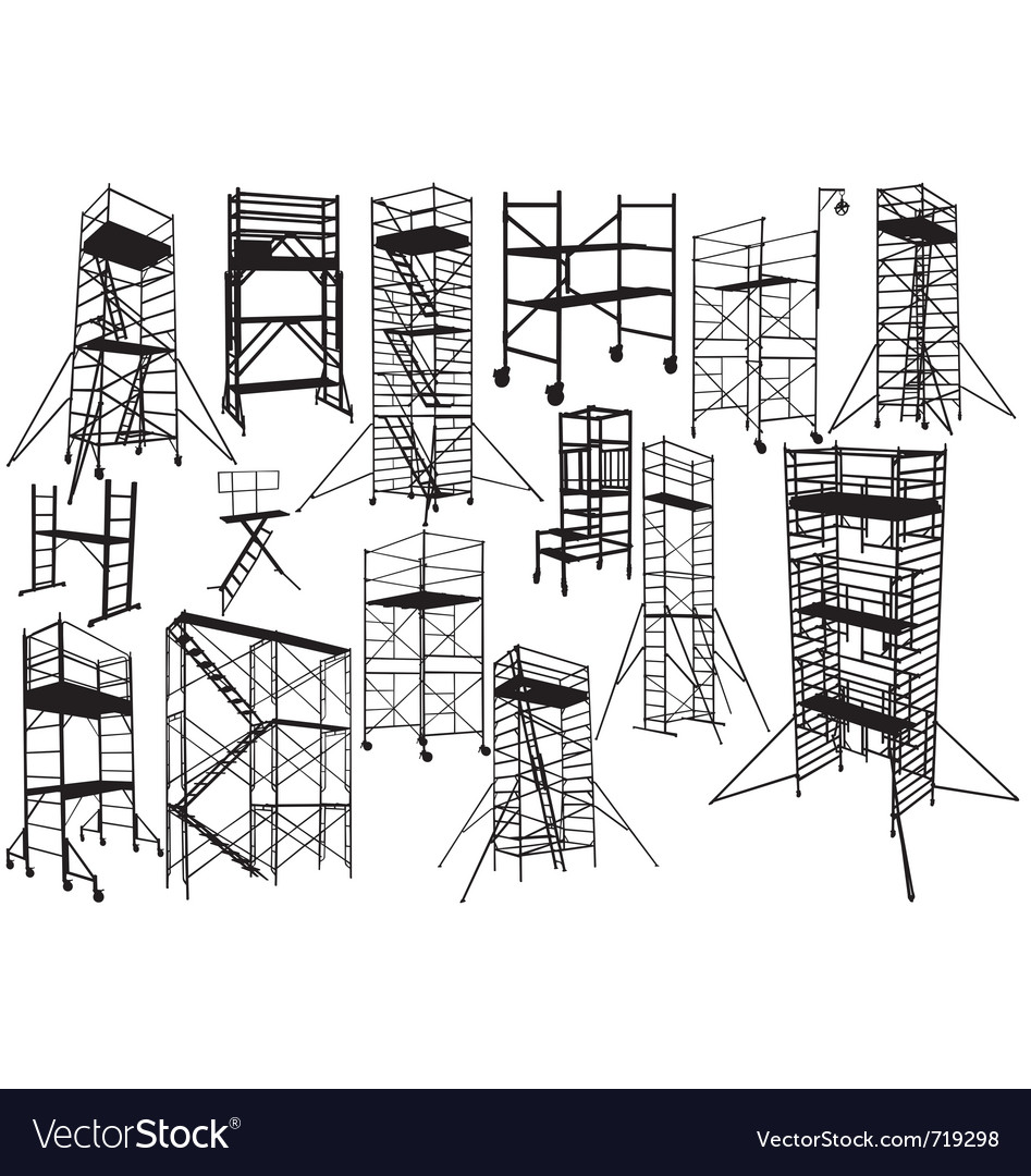 Scaffolding silhouettes vector