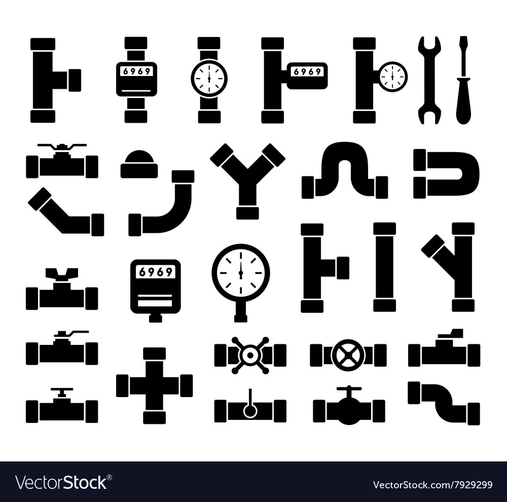 Black plumbing pipes set vector