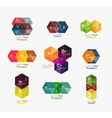Set of abstract geometric hexagon design with vector image