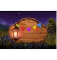 Wooden sign and lamp Night party Nature landscape vector image vector image