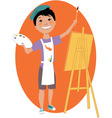 Little boy painting with an easel vector image vector image