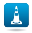 Traffic cone icon in simple style vector image