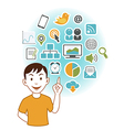 Man with SEO icons vector image