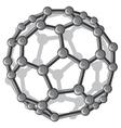 molecular structure of the C60 buckyball vector image