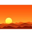 Red desert bright sunrise vector image