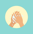 washing hands with soap palm to palm round vector image