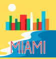 miami abstract skyline city skyscraper flat vector image