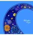 Winter curl design with pink and blue snowflakes vector image