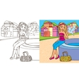 Colouring Book Of Girl Hold Dove vector image