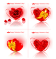 red hearts made of rose petals vector image vector image