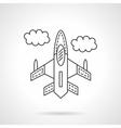 Flying jet flat line design icon vector image