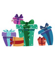 a bunch of christmas gifts gift box with ribbon vector image