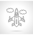 Flying jet flat line design icon vector image
