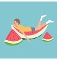 fresh water melon man sleeping relaxing above vector image
