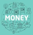 green line flat circle money vector image