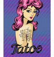 pin-up girl with tattoo - vector image