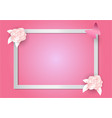 pink flowers and frame on pink background paper vector image