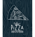 Poster slice pizza wood blue vector image vector image