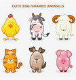 cute pets animals in one set simple egg-shaped vector image
