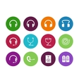 Headphones circle icons on white background vector image vector image