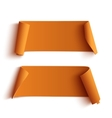 Two curved orange banners vector image