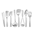 Cooking Hand-drawn set of kitchen tools vector image