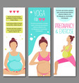Banners for advertising pregnant yoga vector image