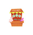 cartoon carnival game booth in amusement park vector image
