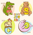 Funny zoo animals kids alphabet Hand drawn ink vector image