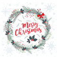 wreath merry christmas cold with snow vector image