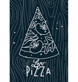 Poster love pizza slice blue vector image vector image