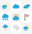 weather flat icons set collection of snow cloud vector image