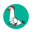 funny cartoon seagull stunned vector image