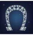 Lucky horseshoe made a lot of diamonds vector image