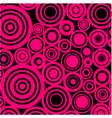 pink circles on black background vector image vector image
