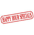 happy hour specials square red grunge vintage vector image