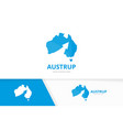 australia and arrow up logo combination vector image