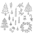 Christmas decoration set with graphic elements vector image