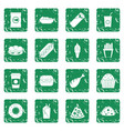 fast food icons set grunge vector image