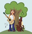 Guitarist plays acoustic guitar and dog howls and vector image
