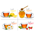 set of backgrounds with cups of tea vector image
