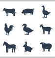 Farm animals silhouettes icon set vector image