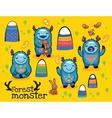 cartoon funny monsters set vector image
