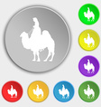 Camel icon sign Symbol on eight flat buttons vector image