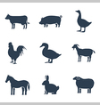 Farm animals silhouettes icon set vector image