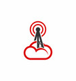 tower signal cloud logo vector image